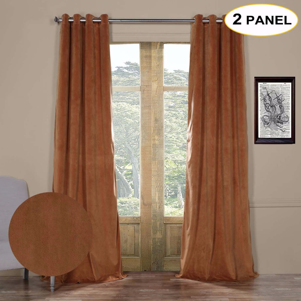 2c3332409ac51 MOMO Velvet Lined 100% Blackout Solid Grommet Top Thermal Curtains Window  Drapes For Living Bedroom With Custom Size (2 Panels)