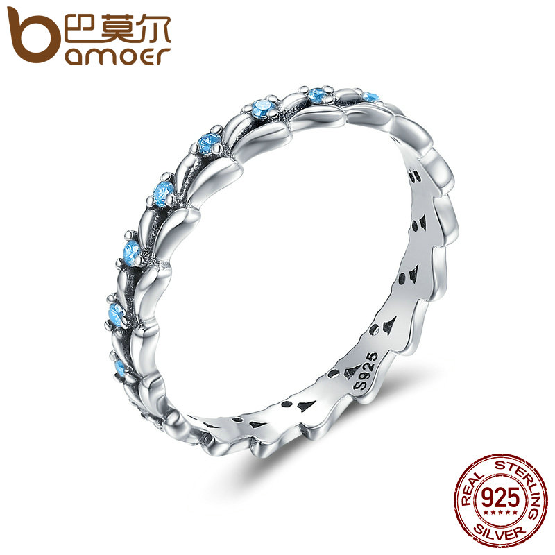 BAMOER Real 100% 925 Sterling Silver Stackable Ring Wheat Wave & Clear CZ Finger Rings for Women Sterling Silver Jewelry SCR162 цена 2017