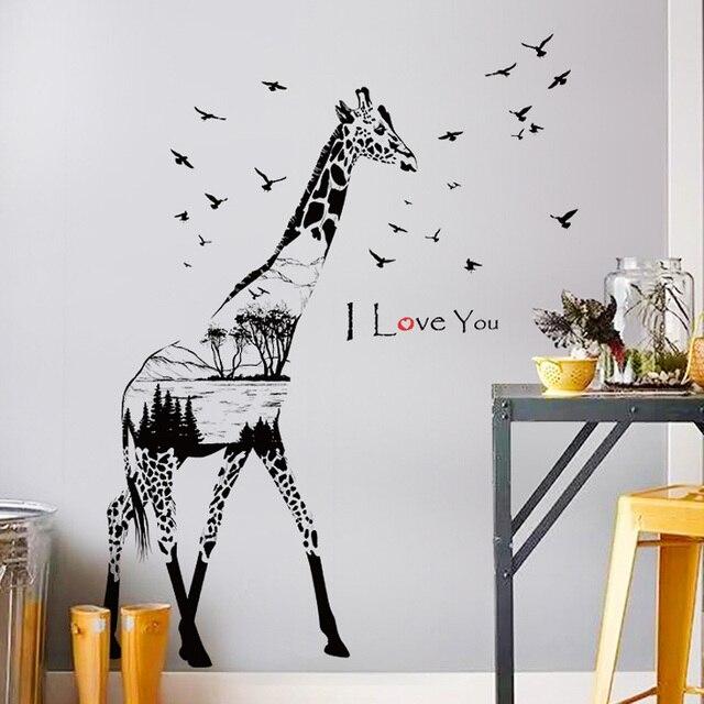 US $6.71 15% di SCONTO|[Fundecor] giraffa schizzo adesivi da muro per  bambini camere cucina camera da letto soggiorno di arte della parete della  ...