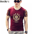 Beswlz Summer Men T-Shirts Short Sleeve O Neck Casual Floral Printed Pattern Men T Shirts Cotton Slim Men Tops Tees 6520