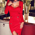 Red Wrap Sheath Backless Draped Women Sexy Dress Front Button Long Sleeve Square Collar Club Wear Bodycon Party Dresses Vestido