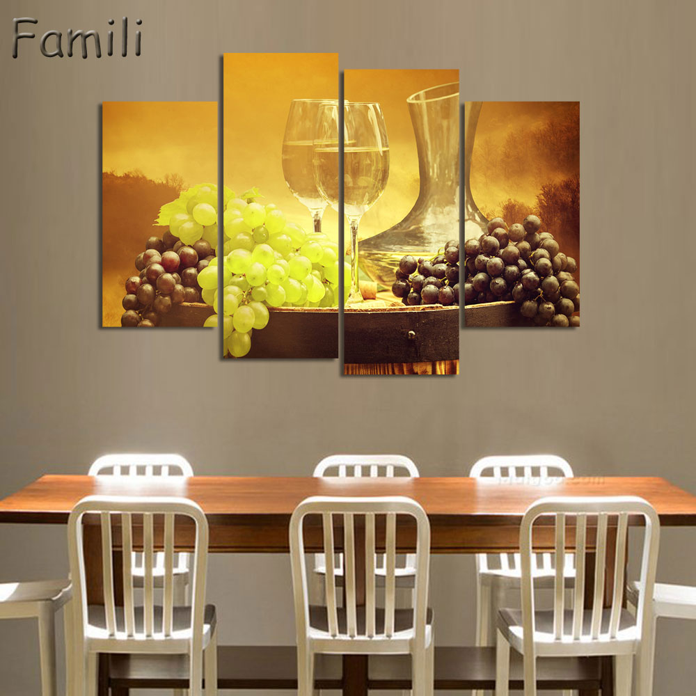 4panel White Wine And Cup Of Modern Canvas Print Painting Wall Art Picture For Kitchen Room Decoration Artwork Unframed3