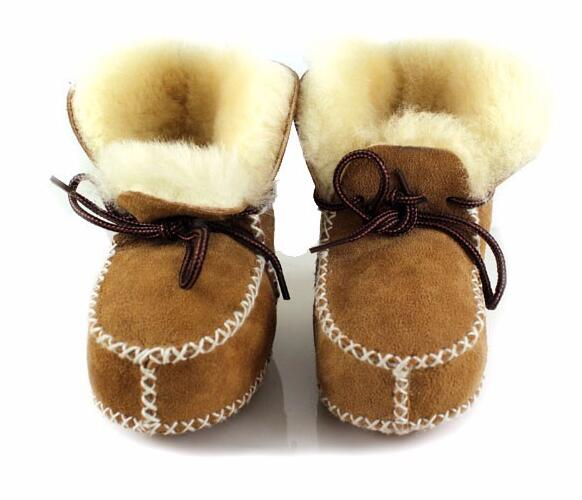 Keep Warm Winter Genuine Leather Wool Fur Baby Boy Boots Toddler Girls Soft Moccasins Shoes With Plush Sheepskin Booties