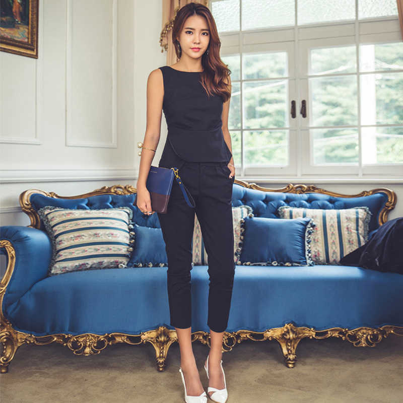 Fashion Womens Formal Office Business Work Wear OL Trouser Suit Blue Black Slim Fit Sexy Elegant Pant Suits Autumn for Women