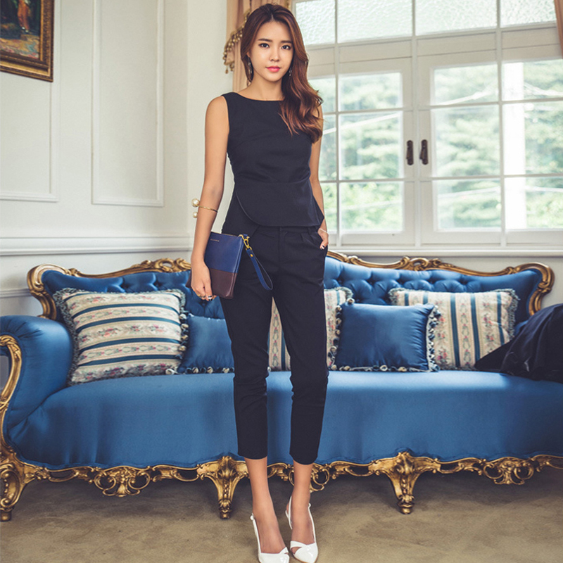 Trustful Fashion Womens Formal Office Business Work Wear Ol Trouser Suit Blue Black Slim Fit Sexy Elegant Pant Suits Autumn For Women Wide Selection;