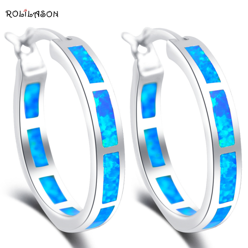 brincos Wholesale Super supplier new Blue Fire Opal Silver Stamped Dinner Hoop Earrings Fashion Jewelry Opal Jewelry OE428