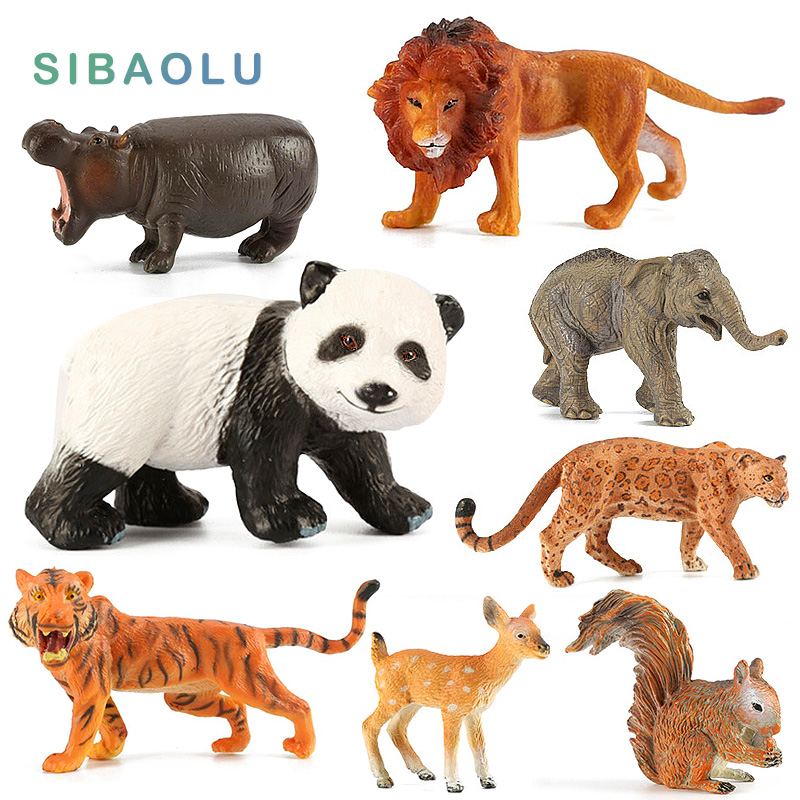Elephant Veveriță Panda Deer Leopard Hipo Bear Baboon Chimpanzee Tiger Animal model figurina acasă decor Decorațiuni accesorii