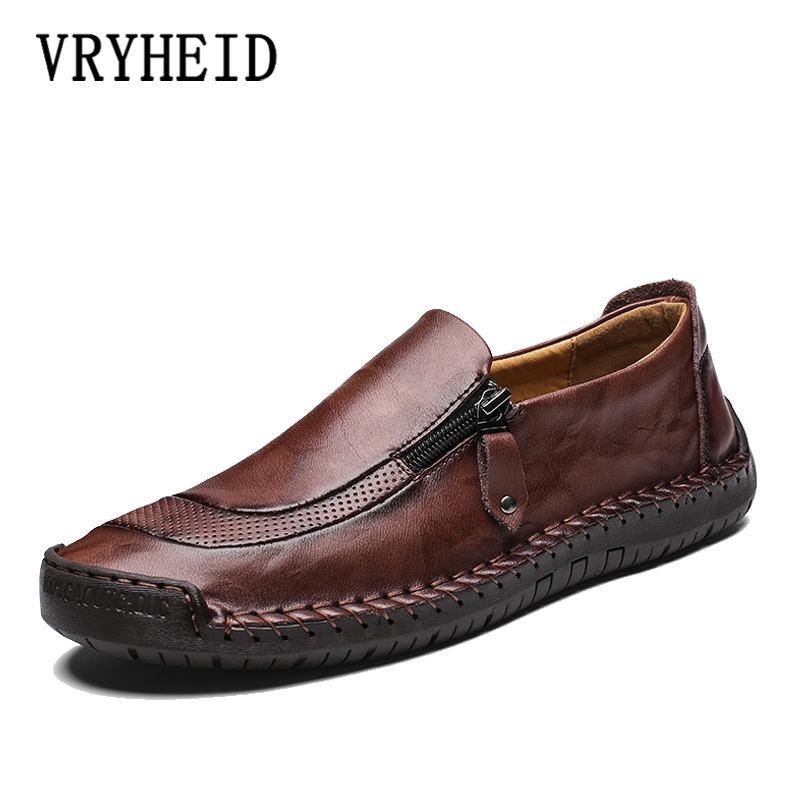 VRYHEID Brand Genuine Leather Men Shoes Fashion Casual Shoes Breathable Men Flats Loafers Men Comfy Driving Shoes Big Size 38-48
