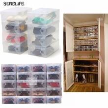 High Quality 20pcs/lot Foldable Plastic Shoe Storage Case Boxes Bag Stackable Organizer