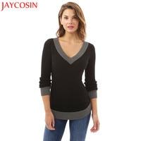 JAYCOSIN Women V Neck Long Sleeve Casual Curve Hem Sweater Women Fashion Patchwork Pencil Tops Gift