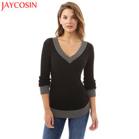 JAYCOSIN Women V Neck Long Sleeve Casual Curve Hem Sweater Women Fashion Patchwork Pencil Tops Gift