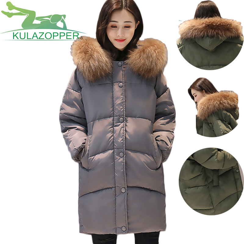 2017 New Winter thick cotton jacket female Slim Big hair collar Long section Hooded Fashioned Bread Loose Style coat parkas xh97 women winter coat leisure big yards hooded fur collar jacket thick warm cotton parkas new style female students overcoat ok238