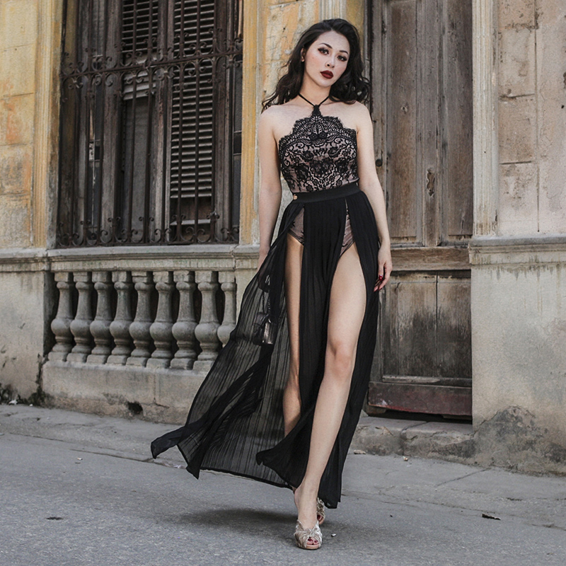01ce5e086016 le palais vintage 2018 Summer Very Sexy Lace Chiffon Long Dress High Side  Slits Stylish Vintage Dress Halter Type Stretch Waist