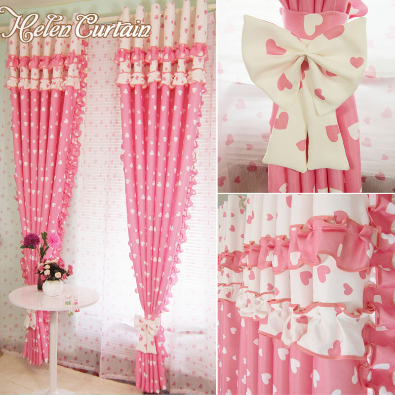 helen curtain pink blackout splice flounce curtains for children living room tulle baby room. Black Bedroom Furniture Sets. Home Design Ideas