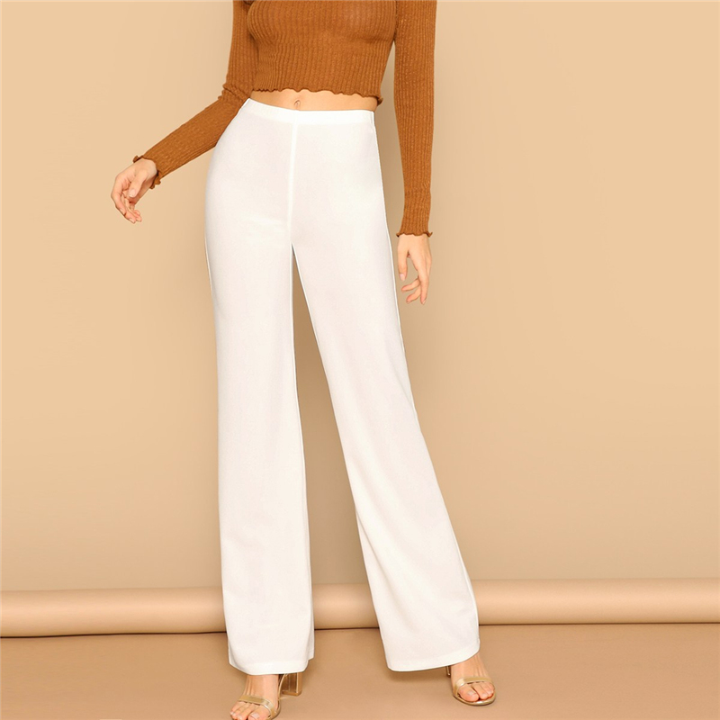 White High Waist Straight Leg Pants