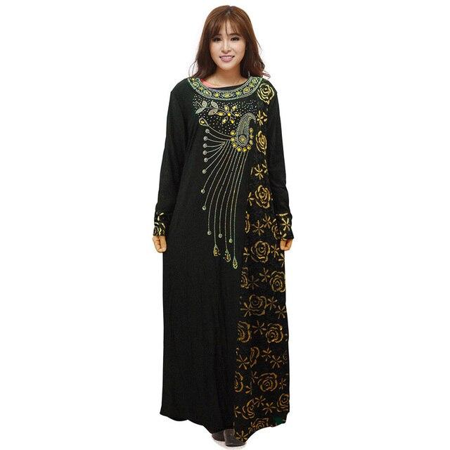 2016 Платье Абая Мусульманских Женщин Мода Плюс Размер XL Вскользь вышивка Кружева Алмазов Макси С Длинным Рукавом Мусульманское Абая В Дубае платье