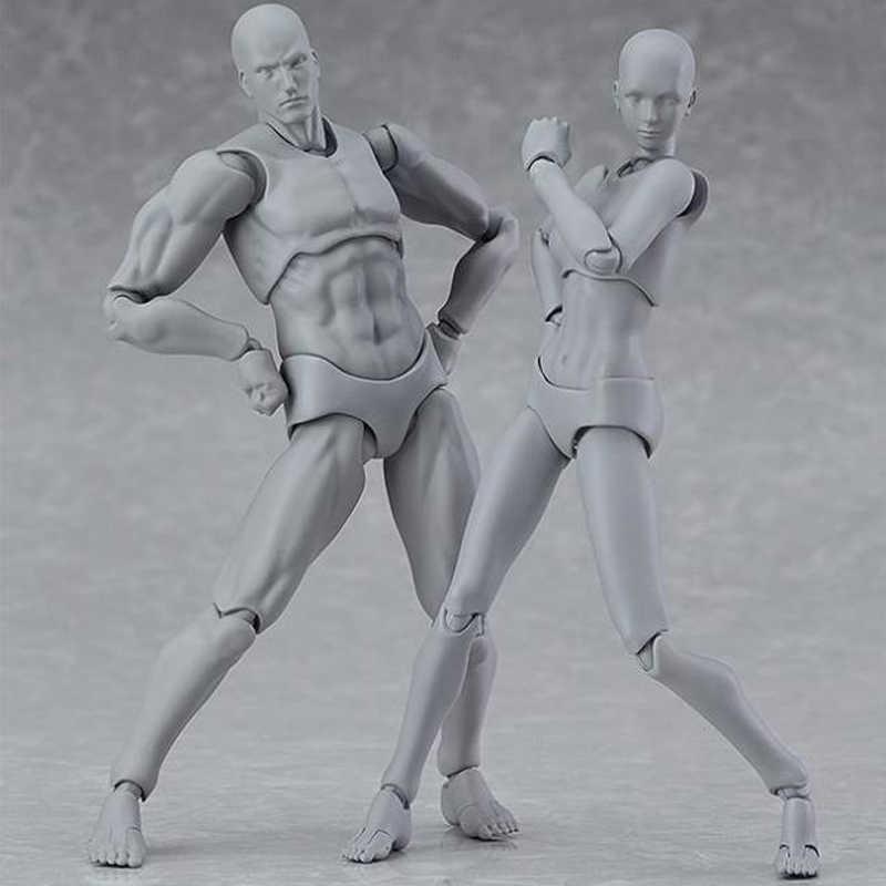 Ação Pvc Figuras Anime Figma Movable Arquétipo Ele Ela Ferrite Corpo Corpo Chan Kun Action Figure Modelo Boneca Brinquedos Para collectible