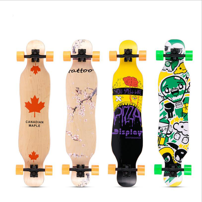 Image 2 - Professional Skateboard  Complete Maple Longboard Skate Board 4 Wheel Downhill Street Long Board Dance Board Roller Driftboard-in Skate Board from Sports & Entertainment
