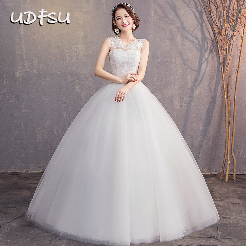 UDFSU Women Lace Sleeveless Vintage Tulle Ball Gowns Boat Neck Lace Up Wedding Gown Bridge Backless Wedding Dresses