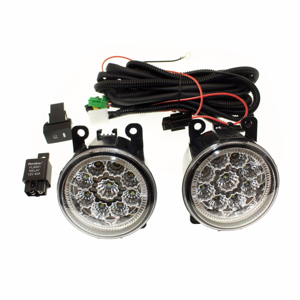 For Renault DUSTER 2012-2015 H11 Wiring Harness Sockets Wire Connector Switch + 2 Fog Lights DRL Front Bumper LED Lamp