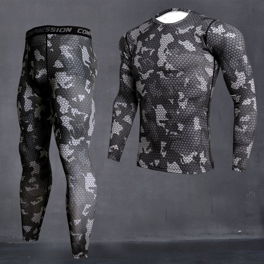 Men's Camouflage Thermal Underwear Set Long Johns Winter Thermal Underwear Base Layer Men Sports Compression Long Sleeve Shirts
