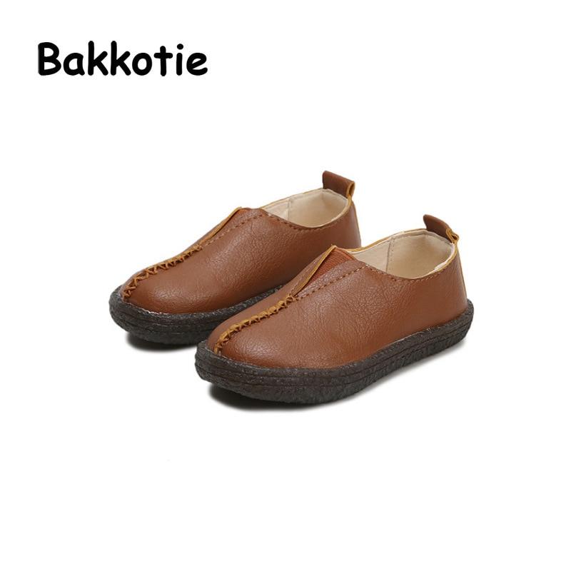 Bakkotie 2018 Spring New Fashion Baby Girl Slip-On Shoe Toddler Soft Flat Moccasins for Children Brand Black Mary Jane Boy