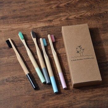 Cepillos de dientes de bambú para adultos, cerdas suaves, dentales, respetuosos con...