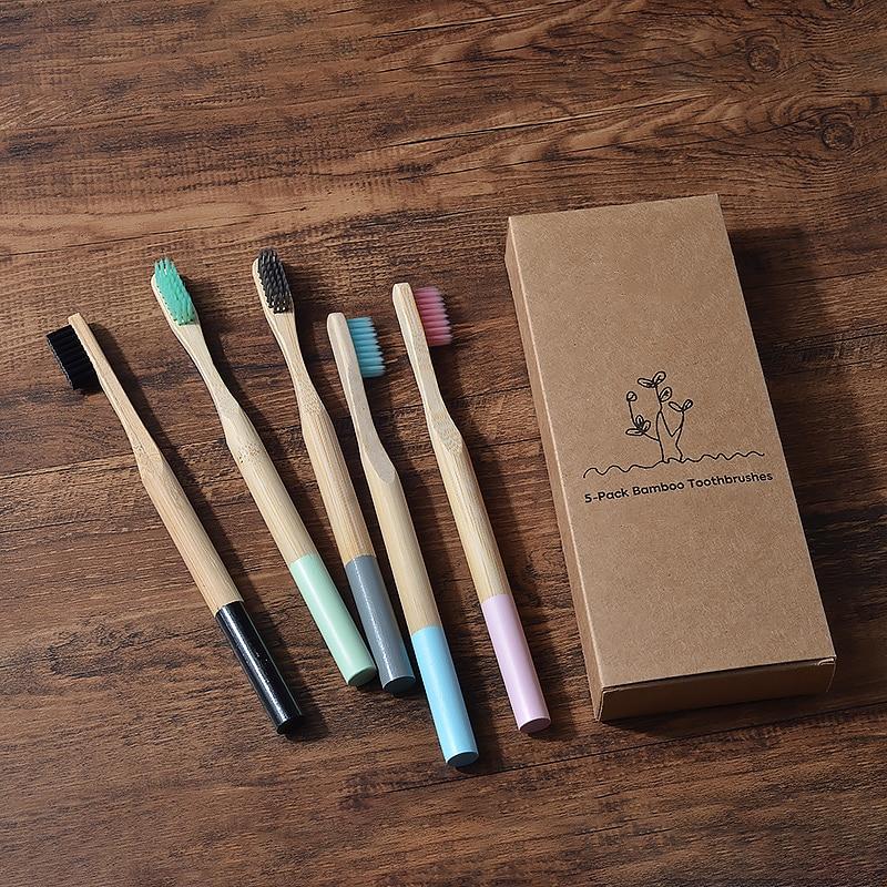 5 шт./упаковка, бамбуковые зубные щётки для взрослых