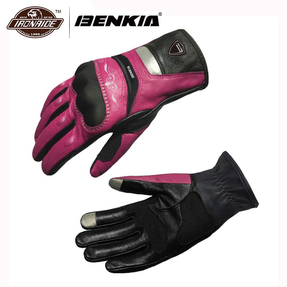 BENKIA Touch Screen Motorbike Motocross Gloves Leather Racing Gloves Women`s Motorcycle Racing Gloves Full Finger Guantes Moto screen touch motorcycle gloves motorbike moto luvas motociclismo para guantes motocross 01c motociclista women men racing gloves