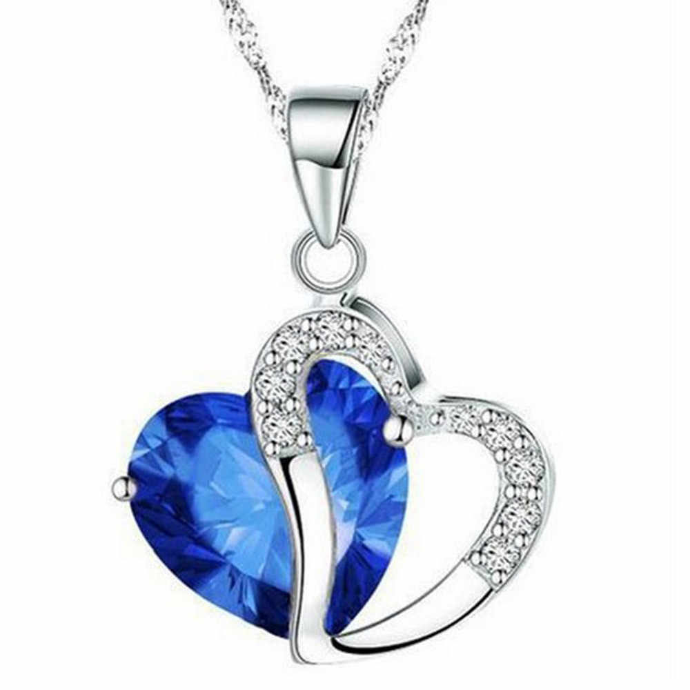 Necklace Heart-shaped  Crystal Necklace Chain Clavicle Sweater Chain Women Heart Rhinestone Silver  Jewelry collar mujer YLL#