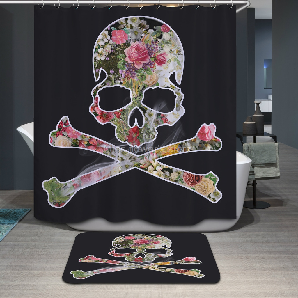 Rose /& Skull Crossbones Skeleton Design Waterproof Fabric Custom Shower Curtain