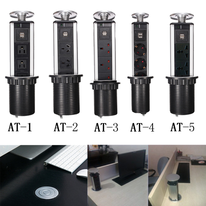Desktop Socket <font><b>Kitchen</b></font> Countertop Point Pull Retractable USB Charger Socket/Orvibo/Office Lab Desktop Outlet On The Home Table