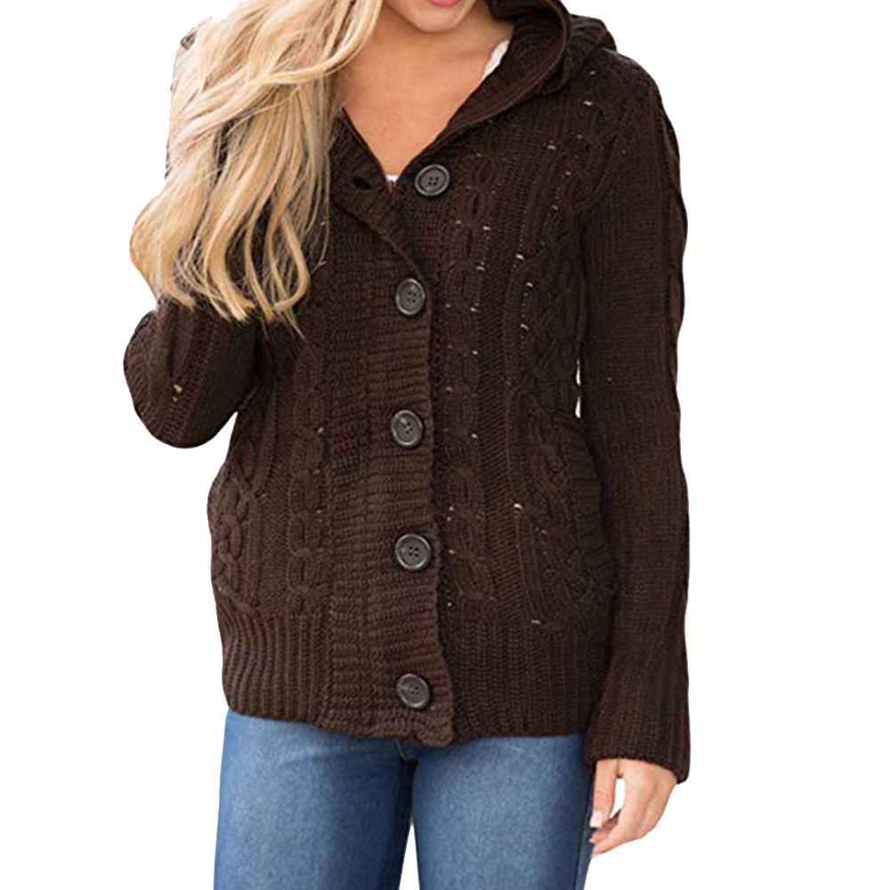 Womens Sweater Cardigans Coats knit plus Hooded Cable long sleeve Button Down Outwear with Pocket autumn and winter ladies F90