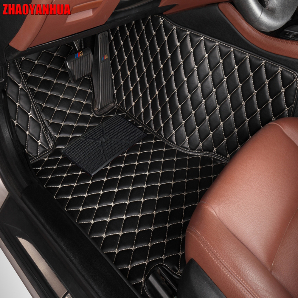 ZHAOYANHUA car floor mats for Hyundai ix25 ix35 Tucson Santa Fe Sonata Verna Accent carpet foot case rugs all weather liners custom fit car floor leather mats anti skid for hyundai ix35 ix25 elantra santa fe sonata tucson accent 3d car styling liner
