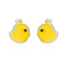 New Arrivals Trendy Sweet Little Yellow Duck Animal 925 Sterling Silver Ladies`Stud Earrings Original Jewelry For Women Girls