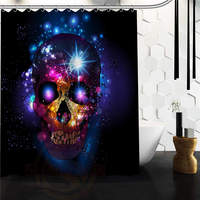 Custom Fashion Popular Bath Curtain Flowers Sugar Skull Shower Curtains 48 X 72 Inch Bathroom Decor