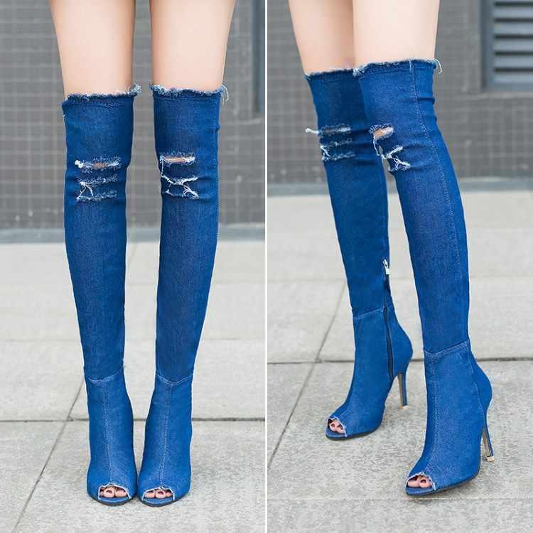 Kadınlar seksi bahar Jean yüksek topuklu bot ayakkabı bayan Peep Toe diz üzerinde Zip Denim motosiklet Boots ayakkabı parti artı boyutu 36-41