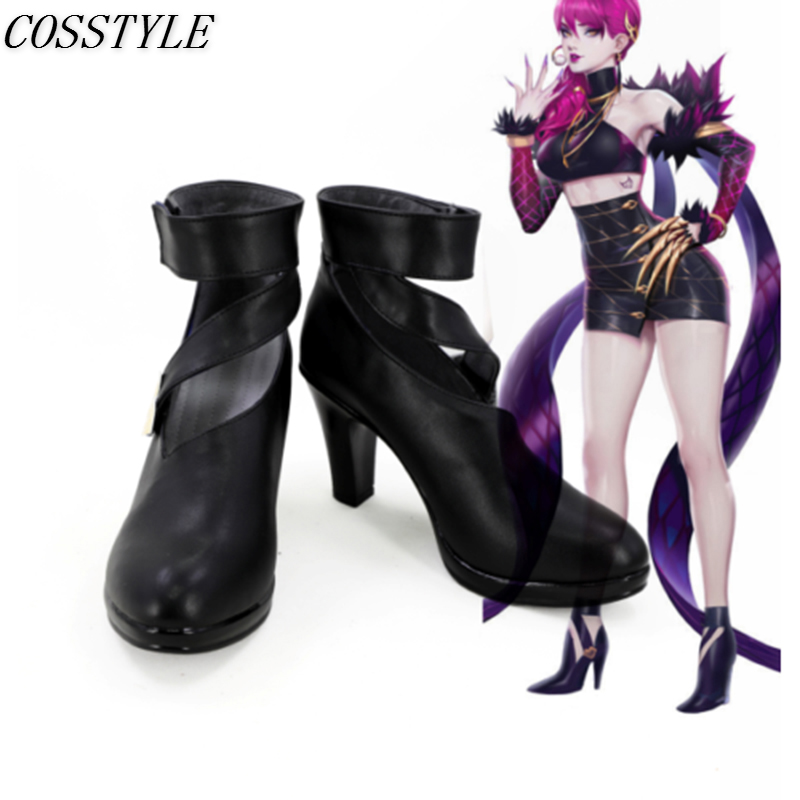 KDA Evelynn Cosplay Shoes Game LOL Evelynn Cosplay High-Heeled Shoes Black Color LOL K/DA Cosplay Boots for Women Custom Made