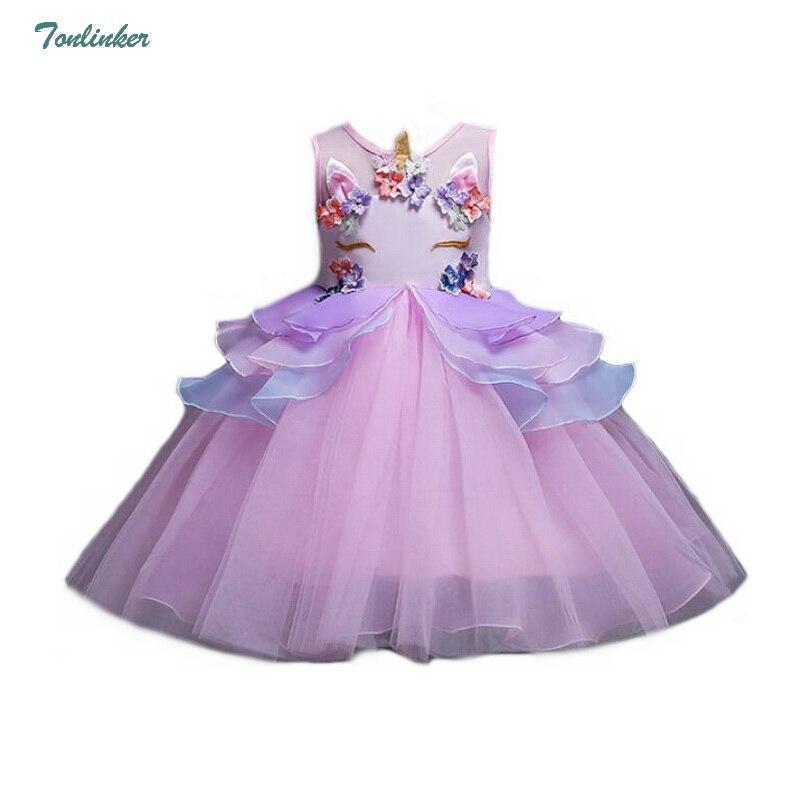 Princess Girls Unicorn Flowers Dress Kids Unicorn Tutu Dress Girl Prom  Unicorn Party Costume Unicornio Vestiso 2,10 Years