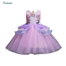 Princess Girls Unicorn Flowers Dress Kids Tutu Girl Prom Party Costume Unicornio Vestiso 2-10 Years