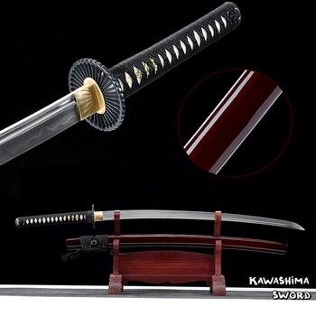 Ручная работа настоящая Катана 1095 стальная глина закаленная полная острота Тан готовая-последний самурайский меч-Новое поступление-красны... >> Kawashima_sword