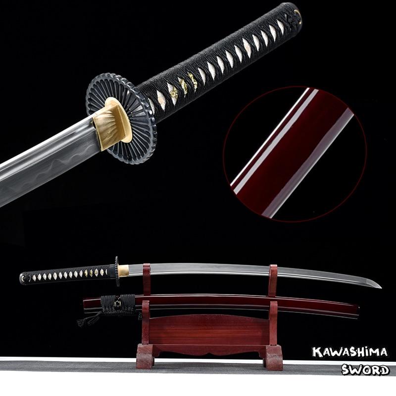 Ręcznie robione prawdziwe Katana 1095 glina hartowane ze stali pełna Tang ostrość gotowy ostatni miecz samuraja New Arrival czerwony w Miecze od Dom i ogród na  Grupa 1