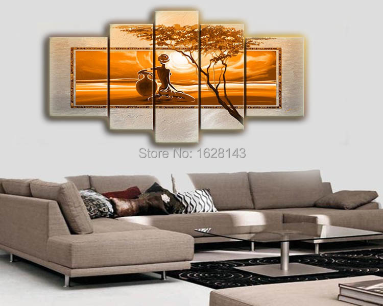 5 Piece Modern Abstract Indian Woman Oil Painting Painted On Canvas Wall Pictures For Living Room Decoration Art D103 In Calligraphy From