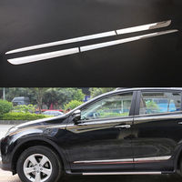 BBQ@FUKA Chrome Stainless Steel Car Door Side Body Molding Cover exterior moulding Trim For Toyota RAV4 2014 2018 car accessory