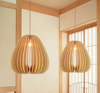 luxury wood cage pendant lamp modern Nordic minimalist living room dining restaurant lighting deluxe wooden hanging lamp