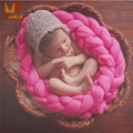 Monkids 2017 Multicolor Newborn Wrap Photography Blanket Prop Hand-knit Baby Blanket Prop Baby Receiving Blankets Soft
