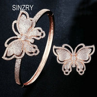 SINZRY new Luxury jewelry accessory Rose gold color cubic zircon butterfly exaggreated glitter bangle ring jewelry set for women