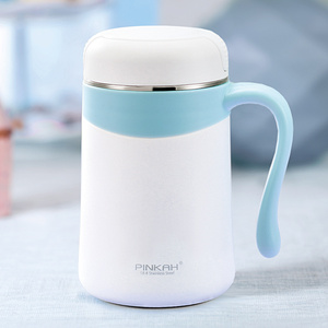 Image 4 - Pinkah 350ML 304 Stainless Steel Thermos Mugs Office Cup With Handle With Lid  Insulated Tea mug  Thermos Cup Office Thermoses