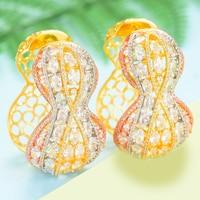 GODKI Luxury Small Waist Design Hoop Earrings For Women Earrings in Jewelry Charms Elegant Full Mirco Cubic Zircon Dubai Wedding