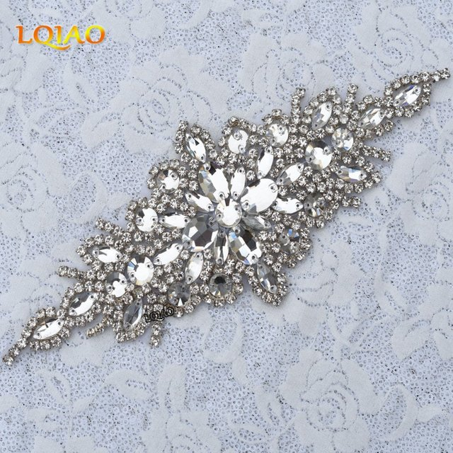f13c197b5c US $108.27 5% OFF|30PCS Wholesale Bridal Handmade Beaded Sewing Silver  Crystal Rhinestone Applique for Wedding Dresses Cloth Accessories RA1006-in  ...